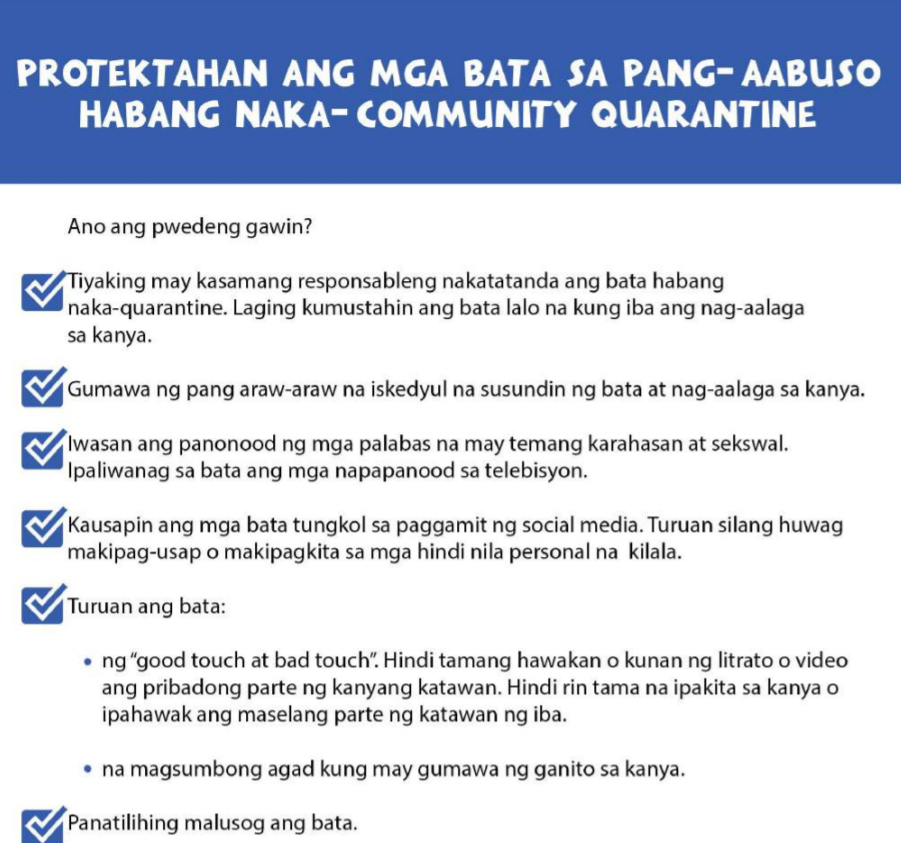 Protect the Child from Abuse during Community Quarantine
